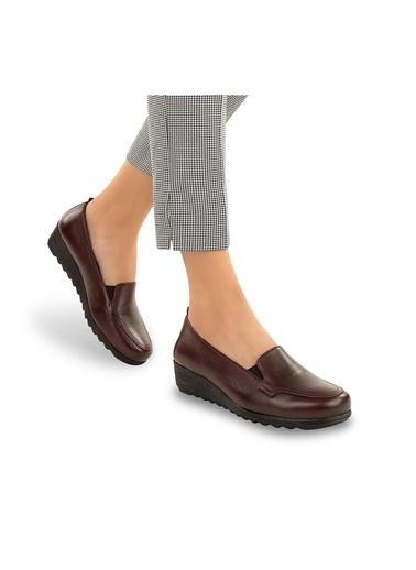 Muya Flex Anatomik Hakiki Deri Kadın Ayakkabı Bordo